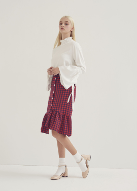 [ADDSENSE/50%SALE] CHECK BANDING SKIRT_RED