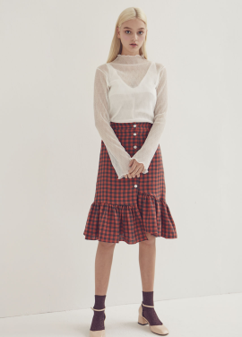 [ADDSENSE/50%SALE] CHECK BANDING SKIRT_ORANGE