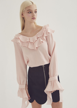 [ADDSENSE] EVE LINE FRILL BLOUSE_PINK