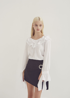 [ADDSENSE] EVE LINE FRILL BLOUSE_WHITE