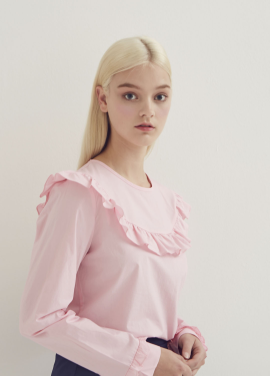 [ADDSENSE]CANDY FRILL ROUND BLOUSE_PINK