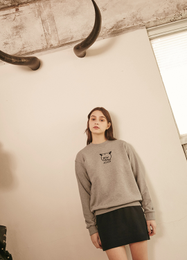 [RYUL+WAI/20%SALE]CAT SWEAT SHIRT _ GREY