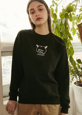 [RYUL+WAI/20%SALE]CAT SWEAT SHIRT _ BLACK