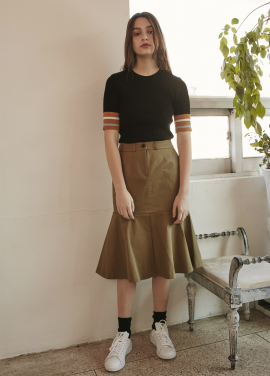 [RYUL+WAI/30%SALE]] MERMAID SLIT SKIRT _ BEIGE