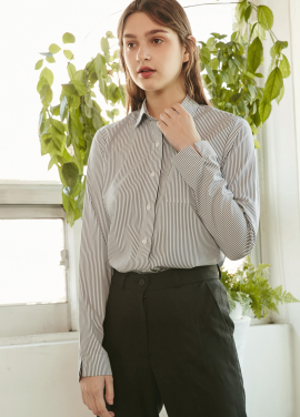 [RYUL+WAI/30%SALE]]ST SLEEEVE SLIT SHIRT _ NAVY