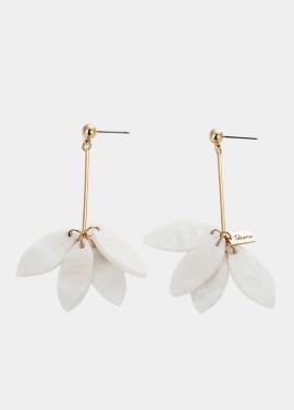 [TATIANA/15%]WHITE FLOWER PETAL EARRING