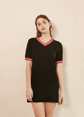 [RYUL+WAI/30%SALE]] V NECK LINE KNIT OPS _ BLACK