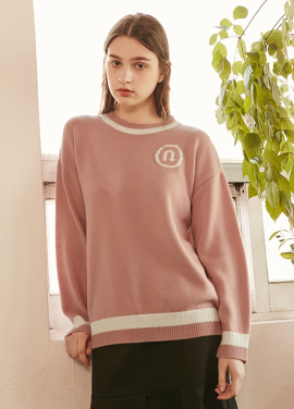 [RYUL+WAI/20%SALE]U TURN PULLOVER KNIT _ PINK
