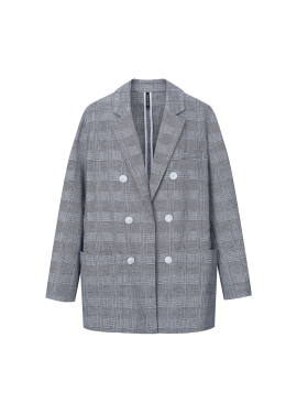 Linen Blend Check Double Jacket [나라 착용]