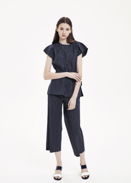 Side Zipper Stripe Wide Pants
