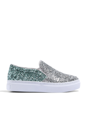 [CRUCIAL] CELEB SLIP-ON SNEAKERS - SILVER