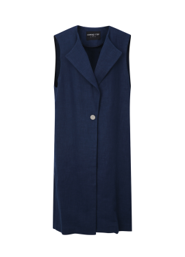 Button Point Linen Vest
