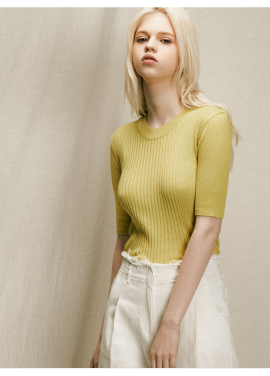 [URAGO]cotton ribbed half knit