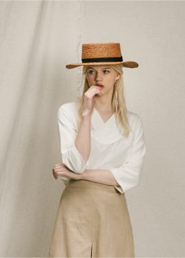 [URAGO]linen v neck blouse