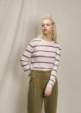[URAGO]linen stripe round knit