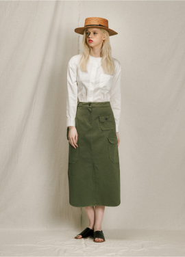 [URAGO]parch pokcet cotton skirt