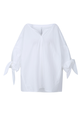 Ribbon Sleeve Cotton Blouse