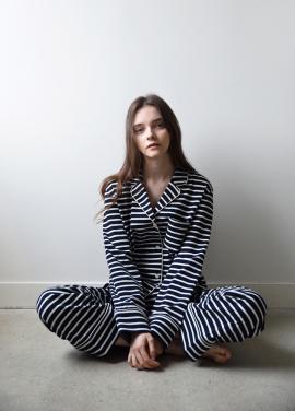 [ADD ROBE]W Piped PJM Shirts_Jersey Navy stripe