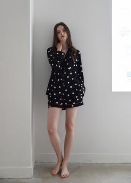[ADD ROBE]W Piped PJM Shorts_Black dots