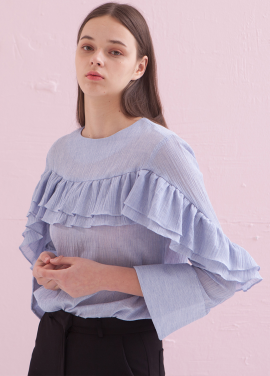 [ADDSENSE] TWO FRILL BLOUSE_BLUE