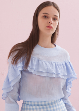 [ADDSENSE] TWO FRILL BLOUSE_SKY BLUE