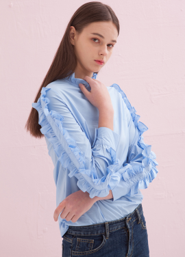 [ADDSENSE] ROLLING FRILL BLOUSE_SKYBLUE