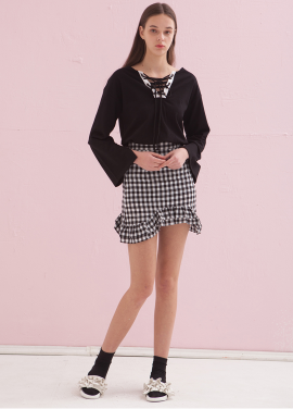 [ADDSENSE/50%SALE] MELODY CHECK SKIRT_BLACK