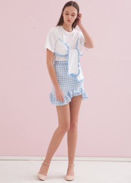 [ADDSENSE/50%SALE] MELODY CHECK SKIRT_SKYBLUE
