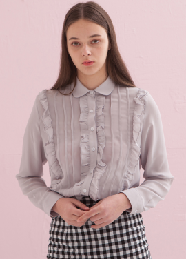 [ADDSENSE/50%SALE] PINTUCK FRILL BLOUSE_GRAY