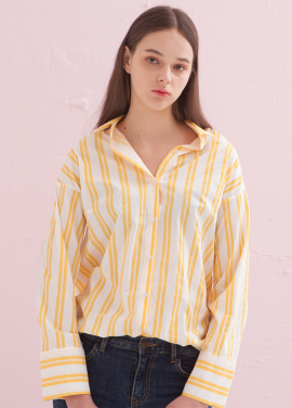 [ADDSENSE/50%SALE] SPRING COLOR STRIPE SHIRT_ YELLOW