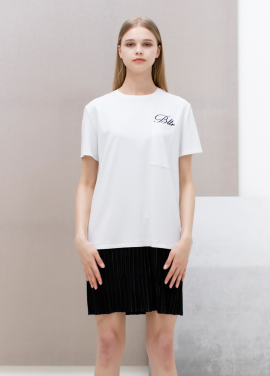 [SUE BALTER/단독 30% SALE]17 SUMMER LOGO EMBROIDERED PLEATS ONE PIECE_WHITE