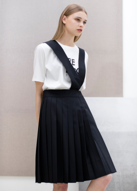 [SUE BALTER/단독 30% SALE]17 SUMMER SUSPENDER PLEATS SKIRT_NAVY
