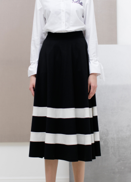 [SUE BALTER/단독 30% SALE]17 SUMMER COLOR BLOCK STRIPE FLARE SKIRT_BLACK