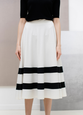 [SUE BALTER/단독 30% SALE]17 SUMMER COLOR BLOCK STRIPE FLARE SKIRT_WHITE