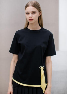 [SUE BALTER/단독 30% SALE]17 SUMMER FRONT STRAP COLOR BLOCK T-SHIRT_BLACK