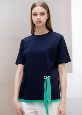 [SUE BALTER/단독 30% SALE]17 SUMMER FRONT STRAP COLOR BLOCK T-SHIRT_NAVY