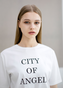 [SUE BALTER/I.O.I, 프리스틴 주결경 착용] 17 SUMMER CITY OF ANGEL PRINTED T-SHIRT_WHITE