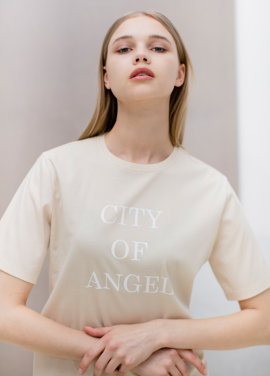 [SUE BALTER/단독 30% SALE] CITY OF ANGEL PRINTED T-SHIRT_BEIGE