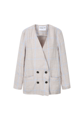 Collarless Check Linen Jacket [이효리 착용]
