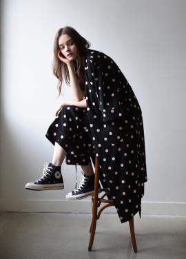 [ADD ROBE]PJM Long Robe_Black dots