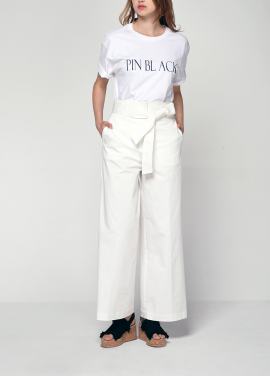 [PINBLACK/20%SALE] belted wide cotton pants white