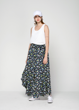 [PINBLACK/20%SALE] flower garden unbal skirt navy