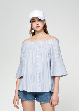 [PINBLACK/20%SALE] stripe two-way off shouder blouse blue