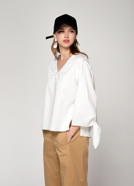 [PINBLACK/20%SALE] slit ribborn blouse white