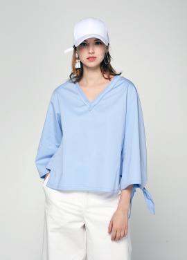 [PINBLACK/20%SALE] slit ribborn blouse blue