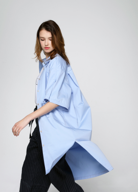 [PINBLACK/20%SALE] cotton shirt dress sky blue