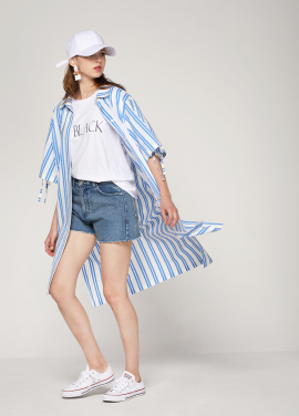 [PINBLACK/20%SALE] stripe shirt dress blue