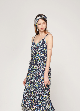[PINBLACK/20%SALE] flower flare dress navy