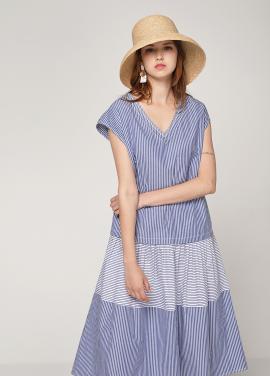 [PINBLACK/20%SALE] contrust stripe cotton dress