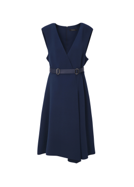 ● Wrap Style Belted Dress